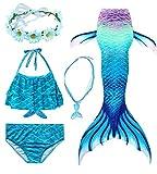 Conjunto de 5 Piezas Cola de Sirena para Nadar para niñas Traje de baño Sirena Incluyendo Coronas y Collares (HXGB01,120)