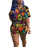 ThusFar Women Two Piece Outfit Clubwear African Print Short Sleeve T-Shirts Bodycon Shorts Set Jumpsuit Rompers S-XXXL Colorful Plus Size 3X