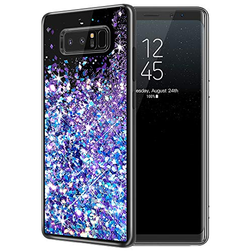 Galaxy Note 8 Case, Caka Galaxy Note 8 Glitter Case Starry Night Series Luxury Fashion Bling Flowing Liquid Floating Sparkle Glitter Girly Soft TPU Case for Samsung Galaxy Note 8 (Blue Purple)