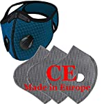 Set Máscara de Máscara de la Cara Transpirable Anti Polvo Con 3 Filtro con 5 Capas Unisex Máscaras Running Dust Cover Ciclismo Bicicleta Reflectante de Seguridad al aire libre CE 4sell, azul