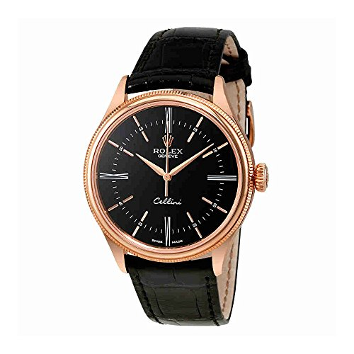 Rolex Cellini Black Dial 18K Rose Gold Automatic Mens Watch 50505BKSRL