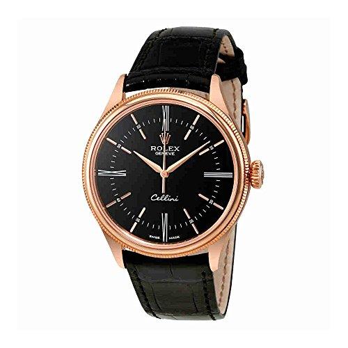 Rolex Cellini Black Dial 18K Rose Gold Automatic Mens Watch 50505BKSRL
