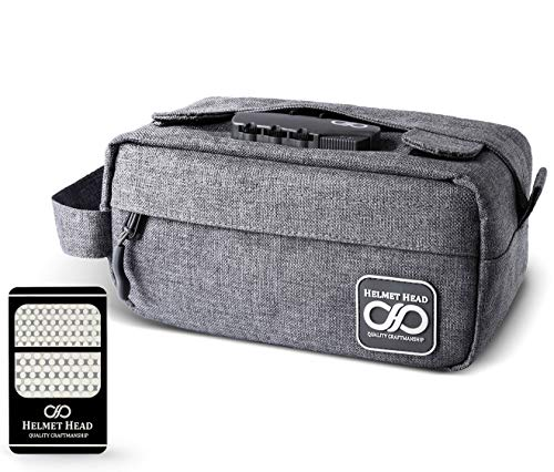 HELMET HEAD Compact Smell Proof Case with Combination Lock + Grinder Card | Water Repellent Small Smell Proof Bag Container For Your Herbs + Smelly Accessories (Gray)
