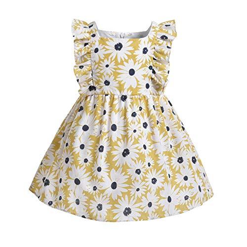 Vestido de Niña Pequeña para Bebés Ropa Informal Vestido para Niñas Pequeñas Volantes Sin Mangas Floral Impreso Primavera Verano