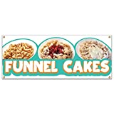 SignMission Funnel Cakes 48' Banner Concession Stand Food Truck Single Sided, Size: 18' X 48'