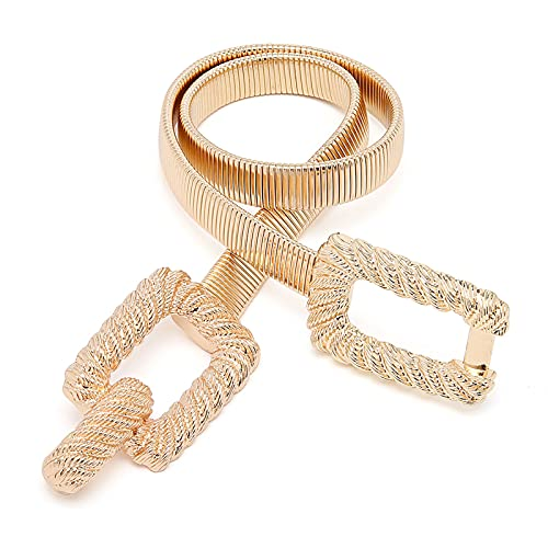 Tanpie Women Skinny Gold Belt Metal Elastic Dress Chain Belts Gold 29 Inches