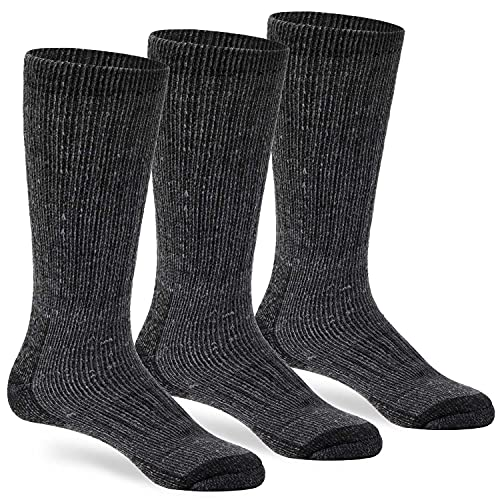 Wool Socks for Winter Warm Cozy Thermal Merino Boot Hiking Sock for Men Women Charcoal ML
