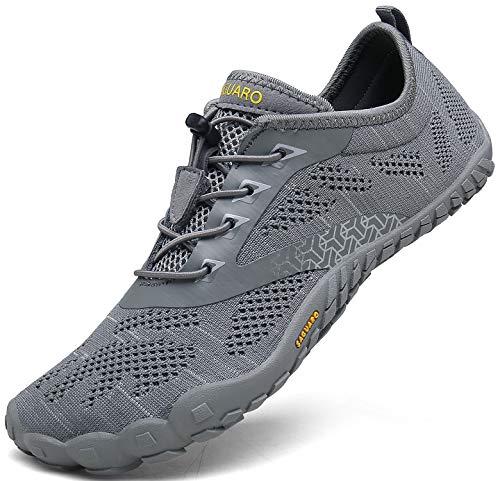 Barfussschuhe Damen Schnell Trocknend Trail Laufschuhe Herren Leicht Fitnessschuhe Frauen Barfuß Zehen Sport Outdoor Schuhe Männer Grau Gr.43