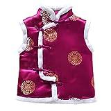 ESHOO Kids Boys Vest Chinese Traditional Style Tang Suit Waistcoat Purple