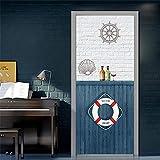 DFKJ Pegatinas de decoración de Puerta 3D Mural de Puerta Impermeable Autoadhesivo DIY calcomanías de decoración baño Dormitorio A14 86x200cm