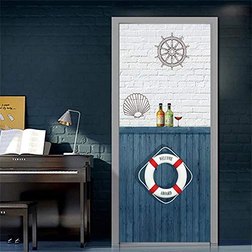 DFKJ Autocollants de Porte 3D Chambre Armoire Porte coulissante décoration peintures murales Autocollants de Porte Auto-adhésifs Mural étanche A13 77x200 cm