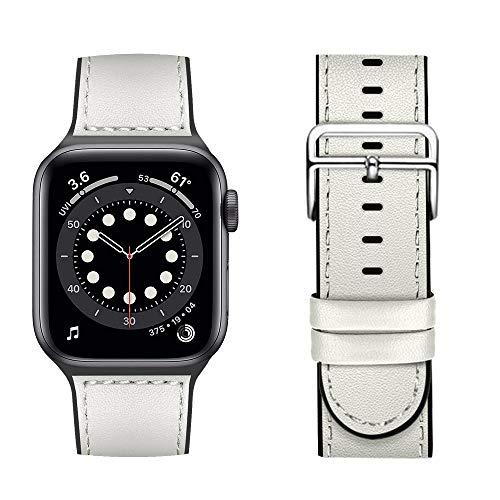 Coholl Correas de Cuero híbridas de Silicona para Apple Watch Correa 40 mm 44 mm 38 mm 42 mm, Hombres Mujeres Correa de Reloj de Repuesto para iWatch Series 6 5 4 3 2 1/SE,Blanco