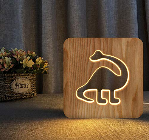 3D night light solid wood carving hollow creative craft LED table lamp(dinosaur)