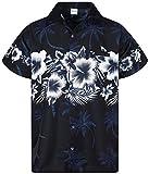 Funky Camisa Hawaiana, Manga Corta, Las Flores, Negro, M