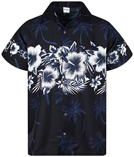 Funky Camisa Hawaiana, Manga Corta, Las Flores, Negro, L
