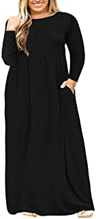 Women's Plus Size Tunic Swing T-Shirt Dress Long Sleeve Maxi Dress with Pockets