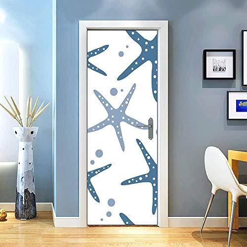 KEXIU 3D Estrella de mar azul sobre blanco PVC fotografía adhesivo vinilo puerta pegatina cocina baño decoración mural 77x200cm