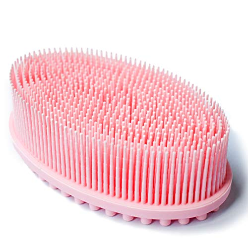 Exfoliating Silicone Body Scrubber Silicone Bath Brush Glowing Skin Silicone Shower Loofah for Gentle Exfoliating Long Lasting Lathers Well & More Hygienic Than Traditional Loofah Body Brush (Pink)