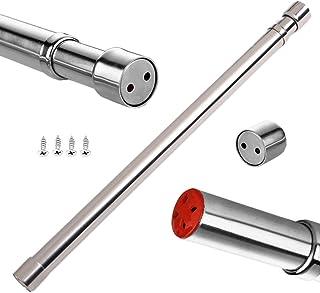sinzau - Barra extensible para armario de 26,8 a 47,2 pulgadas, tubo de acero inoxidable con extremos de enchufes
