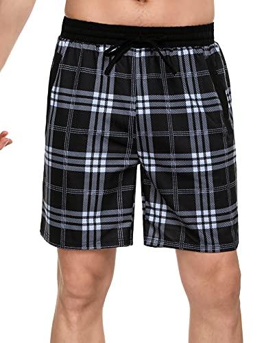 Doaraha Pantalones Cortos de Pijama a Cuadros para Hombre Algodón Pantalón de Casa Vearno Pantalones de Dormir Elástico Salón Shorts (Negro - Blanco, S)