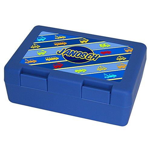 Brotdose mit Namen Janosch und schönem Motiv mit Fahrzeugen für Jungen, blau - Brotbox - Vesperdose - Vesperbox - Brotzeitdose mit Vornamen