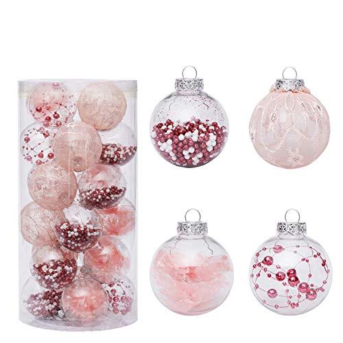 Bolas De Navidad 2 Cajas de Navidad Decoraciones de 6 cm / 24 Pintado Conjunto Bola Transparente de Navidad Bola de Navidad Pendiente del árbol de Pet Colgante del árbol De Navidad