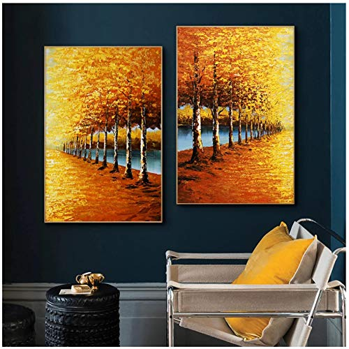un known Poster Bilder Abstract Yellow Forest Landscape Oil Painting on Canvas Poster Print Wall Art Abstract for Living Room Decor 7.8x11.8in(20x30cm) x2psc No Frame