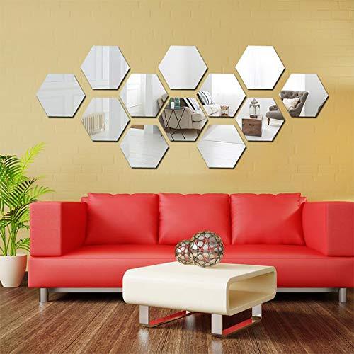 12 Stück Hexagon-Spiegel Wandaufkleber, DIY Dekorative 3D Acryl Spiegel Wandtisch Kunststofffliesen für Zuhause Wohnzimmer Schlafzimmer Sofa TV Hintergrund Wandtattoo Dekoration Silber