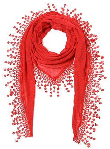 Cindy & Wendy Lightweight Triangle Floral Fashion Lace Fringe Scarf Wrap for Women (SSLS-Red)