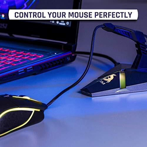 KLIM Bungee für die Gaming Maus - 3X USB 3.0 Hub - Multifunktionsprodukt - Hintergrundbeleuchtung - Mauskabelhalter für kabelgebundene Maus - Card Reader - Neue 2021 Version