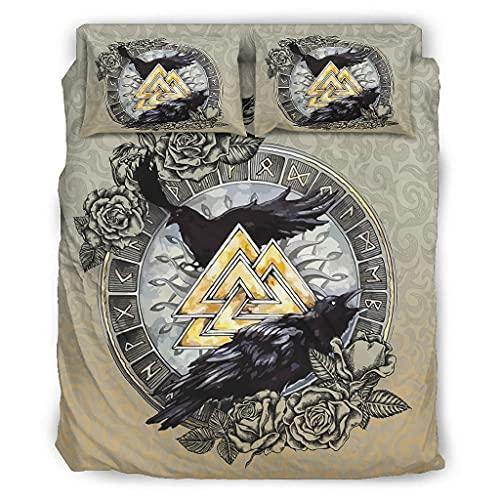 Jaccober Juego de ropa de cama de 4 piezas, diseño de cuervos vikingos y Walkie Queen, calidad prémium, resistente a las arrugas, para el dormitorio de casa, color blanco, 228 x 228 cm