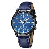 Reloj de Hombre Deportes Tiempo Correa de Cuero Relojes Militares Cronógrafo Reloj de Cuarzo Reloj de Pulsera