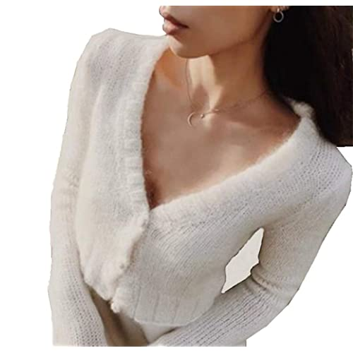 8d50737ace94f Joeoy Women s Fluffy Mohair Long Sleeve Knit Crop Top Sweater Jumper