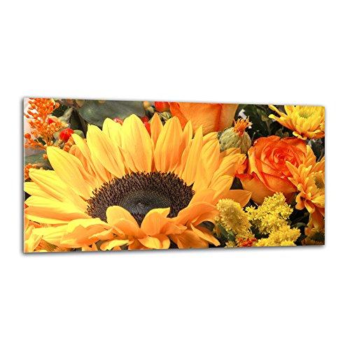 decorwelt Küchenrückwand Spritzschutz aus Glas 80x40 cm Wandschutz Herd Spüle Küchenspritzschutz Fliesenschutz Fliesenspiegel Küche Dekoglas Sonnenblume Gelb