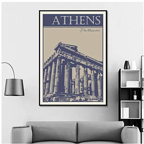 chtshjdtb Partenone di Atene Poster e Stampe Quadri su Tela Immagini per Soggiorno Immagini per Soggiorno Stampa su Tela -50x75cm Senza Cornice