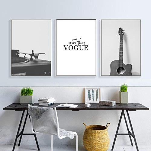 ZJMI Leinwanddrucke,Schwarz Weiß Musikinstrument Moderne Kunst Leinwand Gemälde Drucke Gitarre Poster An Der Wand Musik Unterricht Home Decor Unframed