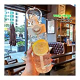 Botella de agua con pajita Botellas de agua deportivas portátiles Taza de plástico transparente resistente al calor 650Ml