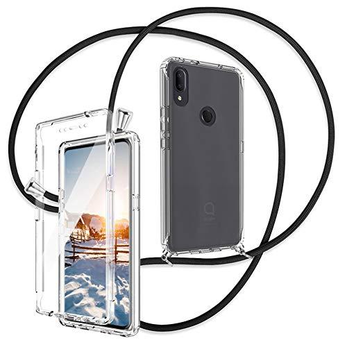 Ptny 360 Grad Handykette Hülle Kompatibel mit Alcatel 3V 2019, mit Smartphone Necklace Hülle mit Band, Transparent Full Body Stoßfest Bumper Silikon case, mit integriertem Bildschirmschutz - Schwarz