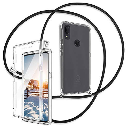 Ptny 360° Handykette Hülle für Alcatel 3V 2019 Smartphone Necklace Hülle, [Integriertem Bildschirmschutz] Schnur mit Hülle zum umhängen Stylische Kordel Kette, R&umschutz Transparent Handyhülle