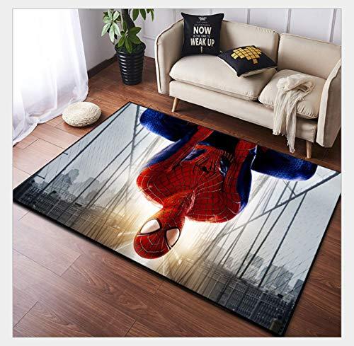 WallDiy Alfombra de Dormitorio de Moda de Spider Man, Alfombrilla de Noche con Ventana de bahía, Manta de Personalidad Lavable, Alfombra de Sala de Estar de Color Degradado