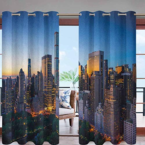 Hiiiman Outdoor Curtain Panel Thermal Insulated with Grommet Top Sun Rising Over Central Park W84 x L96 for Canopy/Pergola/Yard Privacy