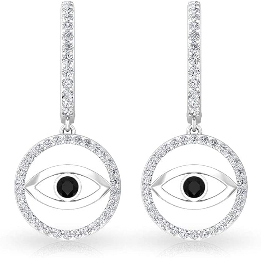 0.63 CT Black Onyx and Diamond Earring, Evil Eye Drop Earring, Gold Clip-on Hoop Earrings for women, clip-on