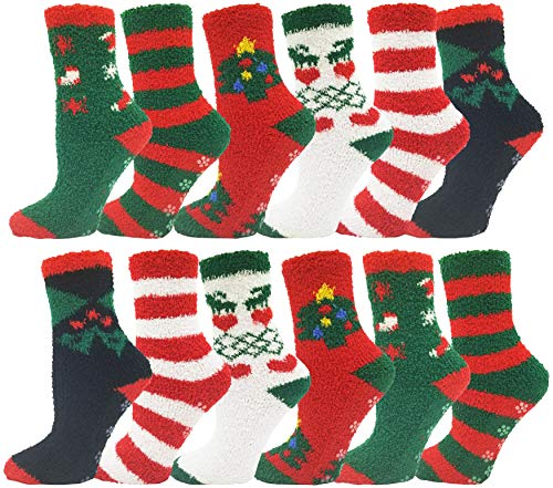Women's Christmas Socks, 12 Pairs, Holiday Xmas, Novelty Colorful Patterns
