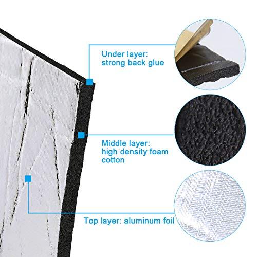 uxcell 394mil 10mm 16.36sqft Car Block Heat Sound Absorption Deadener Insulation Mat 60