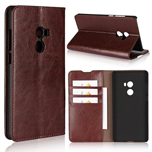 Copmob Hülle Xiaomi Mi Mix 2,Premium Flip Brieftasche Leder Schutzhülle,[3 Kartensteckplätze][Bracket-Funktion][Stoßfestes TPU],Ledertasche Handyhülle für Xiaomi Mi Mix 2 - Dunkelbraun