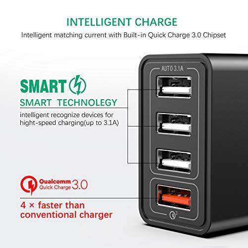 IWAVION Quick Charge 3.0 USB Ladegerät mit USB Type C Ladekabel, 30W QC 3.0 ladegeraet mit 4 Ports Schnellladegerät USB Netzteil für Samsung Galaxy S10/S9/S8/Note,LG V30,Huawei P20/P30,XiaoMi(Schwarz)