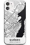 Carte du Québec, Canada Mince Cas de téléphone pour iPhone 11 | Clair Silicone TPU Protecteur Poids léger Très Mince Couverture Modèle Imprimé | Voyage Esprit D'Aventure l'europe Ville des Rues