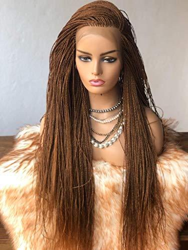 Vuzi Wigs Factory - Braided Wigs, Micro Twists, Hand Braided Wigs, 22 inches, 6x4, Synthetic Hand Braided Wigs, Micro Million twist - Brown (Colour 30)