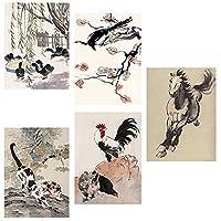 中国の有名な絵画徐北紅グレートマスターポスターアヒルの馬猫インクキャンバス写真動物の壁アートリビングルームの装飾プリント30x40cmx5フレームなし