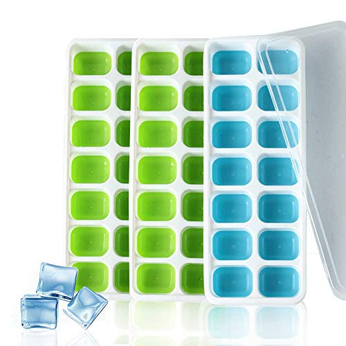 SEA GIANT 3 Pack Silicone Ice Cube Trays,Stackable Easy Release,Best Ice Trays for Freezer, Whiskey, Cocktail,Ice Cube Moulds with Spill-Resistant Removable Lids